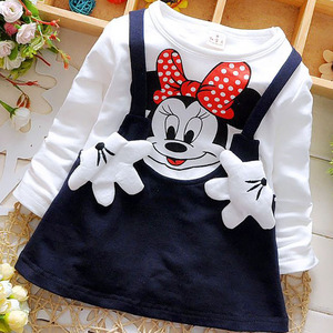 2018 New Cartoon Baby Girls Wear Lovely Minnie Long Sleeved Princess Style Party Clothes For Free Delivery