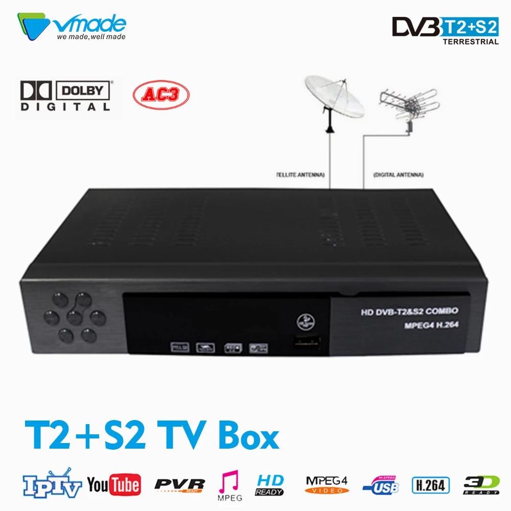 Vmade DVB-T2/S2 Combo H.264 MPEG4 HD Digital Terrestrial Satellite Receiver Support Cccam Youtube Biss IPTV Box Hot Sale Ukraine