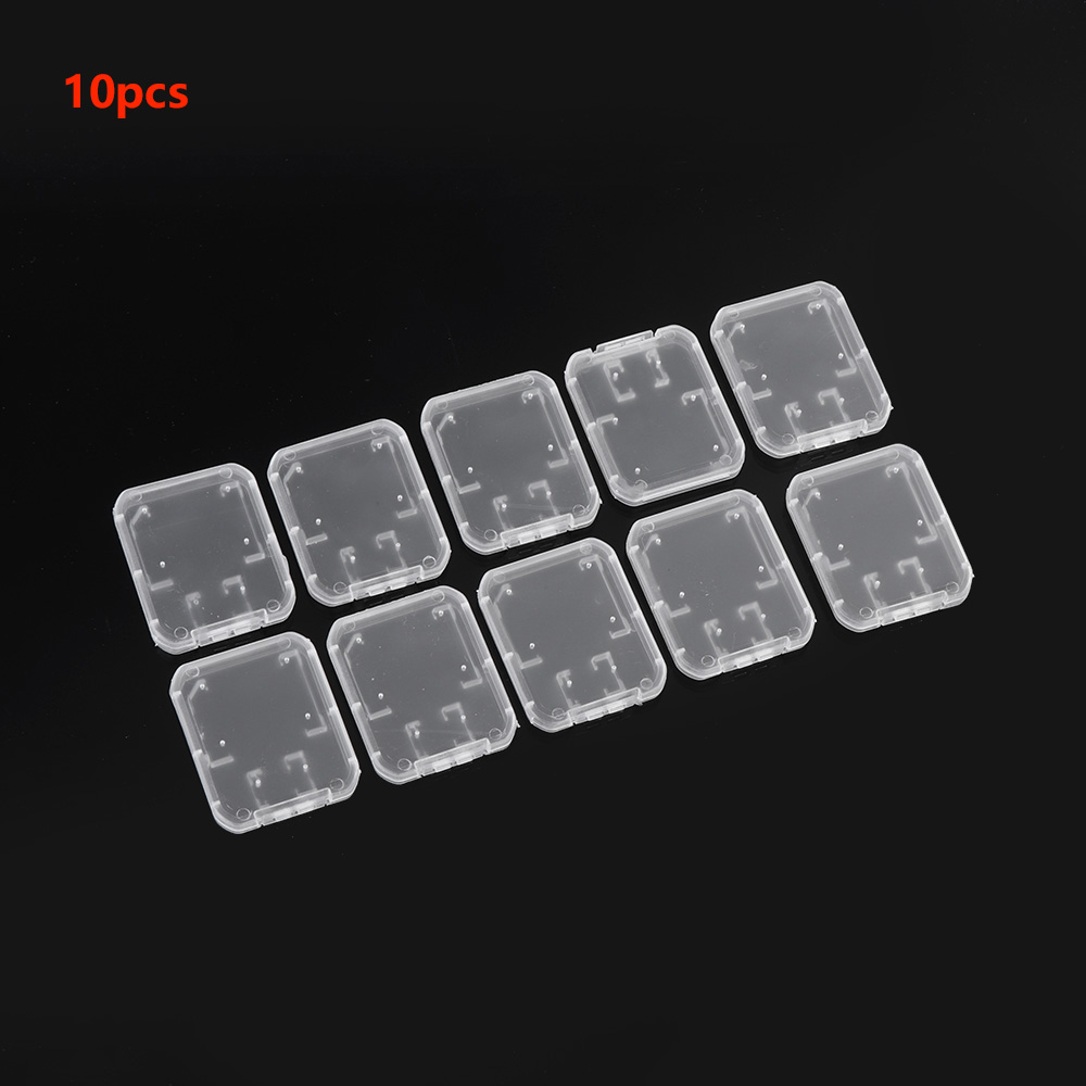 Portable 10PCS Transparent Case Holder Box Storage Clear Standard Memory  Plastic Card Case For Standard SD SDHC TF Memory Card