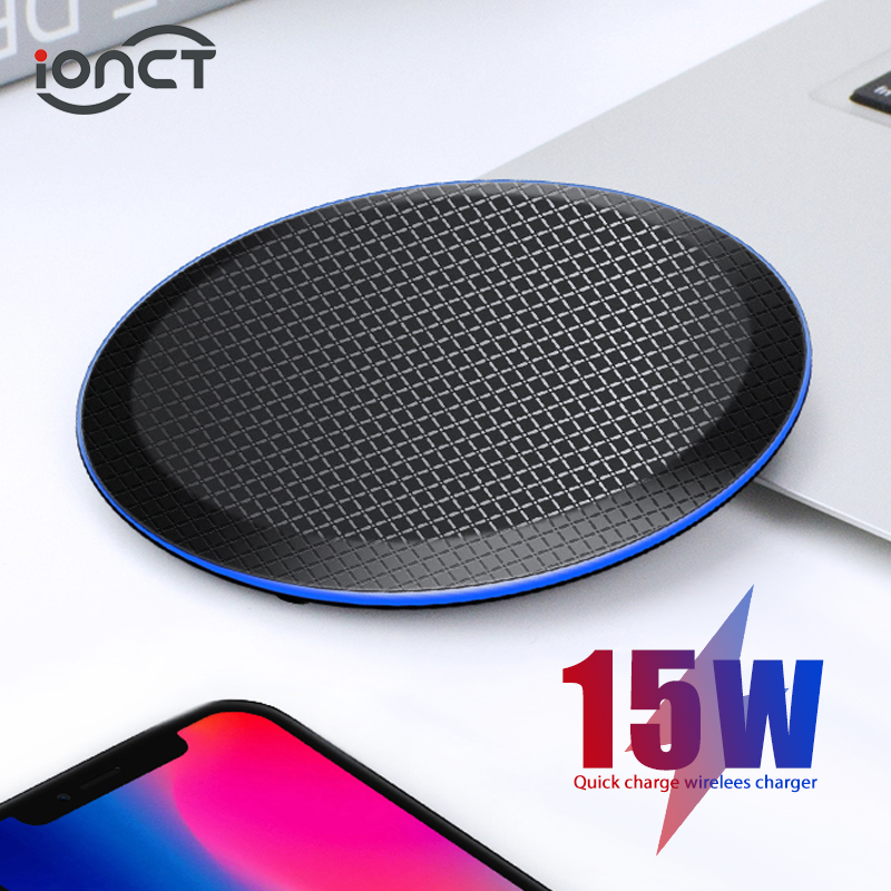 iONCT 15W Fast Qi Wireless Charger for iPhone 11 pro X XR XS Max 8 USB wirless Charging for Samsung phone charger wireless padWireless Chargers   -