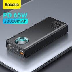 Baseus 65 w power bank 30000 mah pd carregamento rápido fcp scp powerbank portátil carregador externo para smartphone portátil tablet