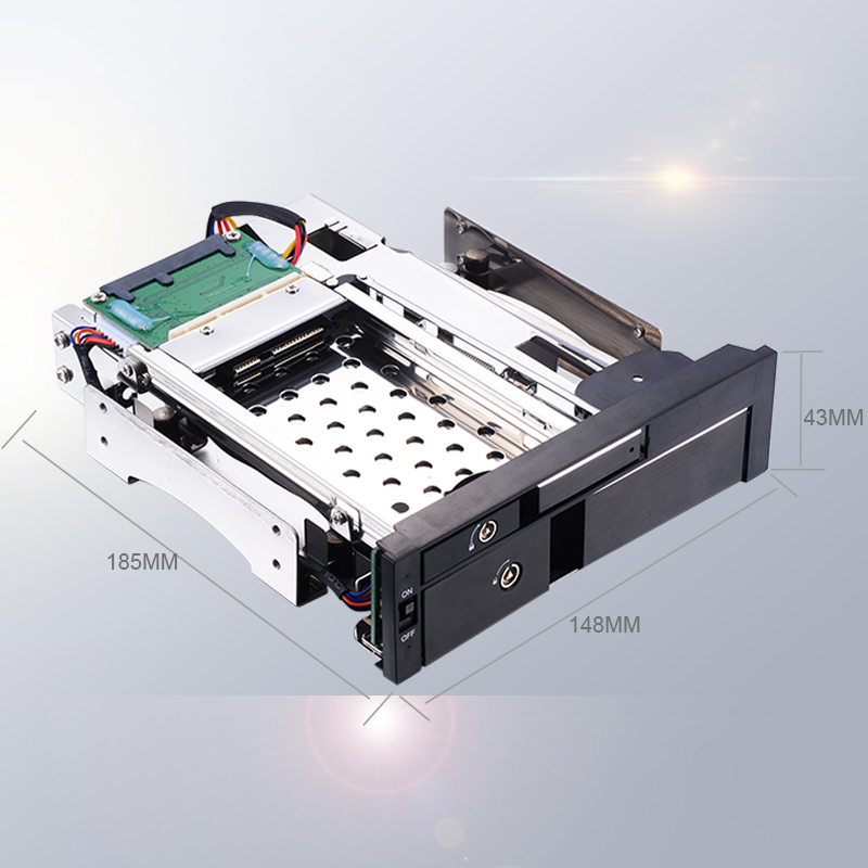Image 5 - Uneatop Optical Bay Aluminum 2.5+3.5in multi function SATA Internal Hot swap HDD Mobile Rack for dual tray less enclosure-in HDD Enclosure from Computer & Office