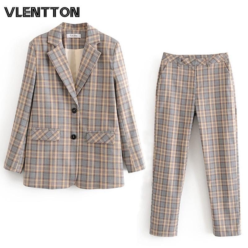 2020 Spring Autumn Vintage Plaid Pants Suit Women Single Breasted Office Blazer Jacket Coat+Zipper Trousers Female Two Piece Set