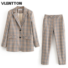 2020 Spring Autumn Vintage Plaid Pants Suit Women Single breasted Office Blazer Jacket Coat+Zipper Trousers Female Two Piece Set