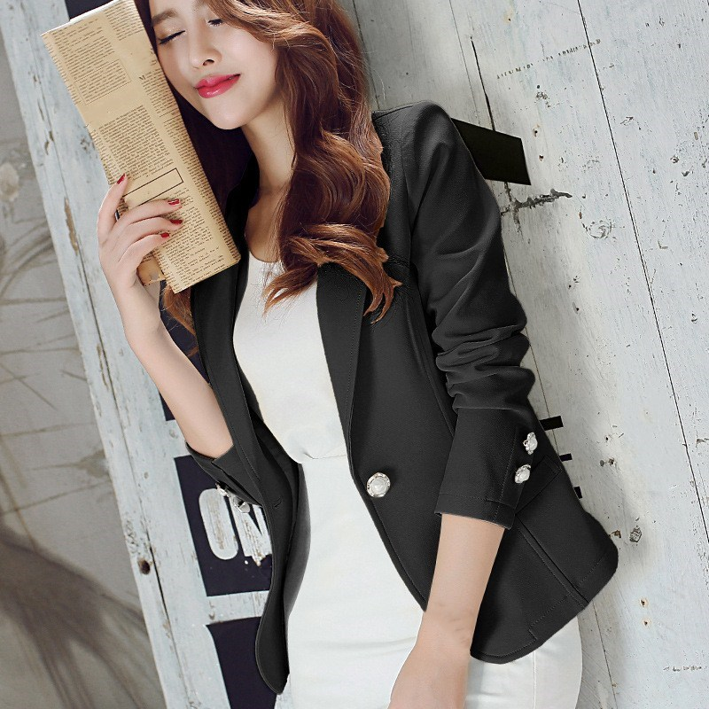 Nice Women Spring Autumn Jackets Coat Button Formal Work Leisure Slim Jacket Long Sleeve Office Lady Blazers