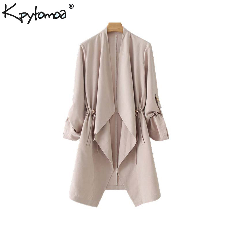 Vintage Stylish Open Stitch Solid Trench Coat Women 2020 Fashion V Neck Long Sleeve Drawstring Outerwear Casual Ropa Mujer