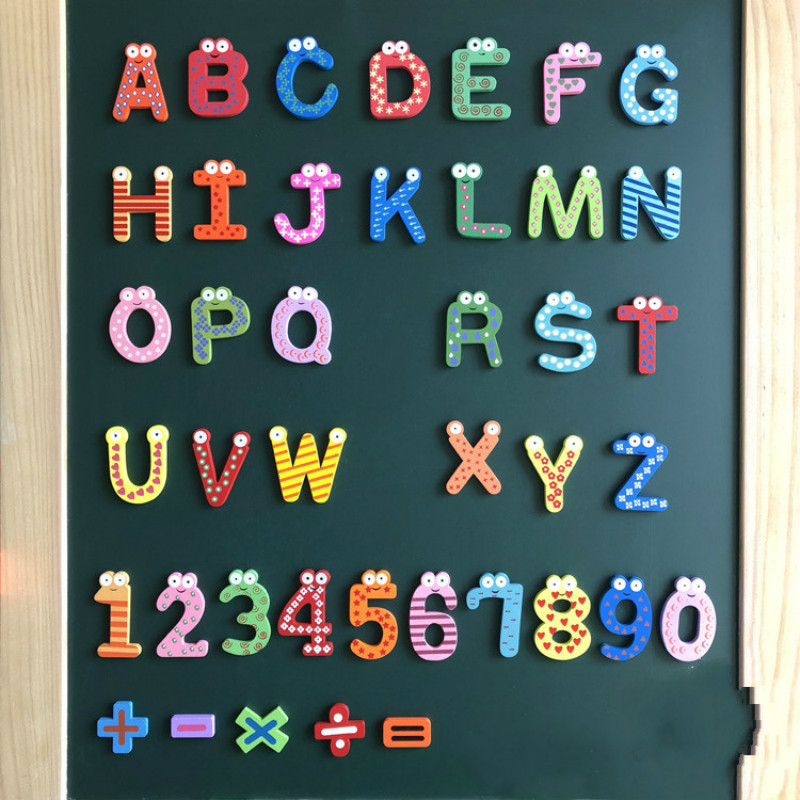 Baby Toys Wooden Toy Stick Educational Toys Puzzles For Kids Digital Letter Fridge Magnet 26 Alphabet Sticker Puzzle Toys