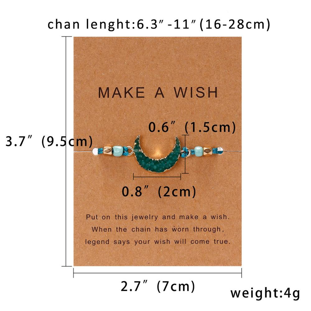 Belleper Anniversary Gift Crescent Natural Stone Resin Bracelets Adjustable Red String Rope Couples Bracelets Wish Card Jewelry