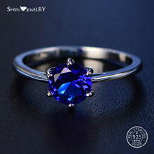 Shipei 100% 925 Sterling Silver Round Sapphire Rings for Women Fine Jewelry Perfect Cut Round Gemstone Ring Engagement Size 4-12 все цены