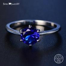 Shipei 100% 925 Sterling Silver Round Sapphire Rings for Women Fine Jewelry Perfect Cut Round Gemstone Ring Engagement Size 4-12 цена в Москве и Питере