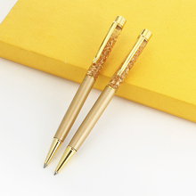 1 Pcs Luxury Ballpoint Flow Oil Crystal Foil Metal Pen Cute Stationary Novelty Pens for Writing School Office Stationery