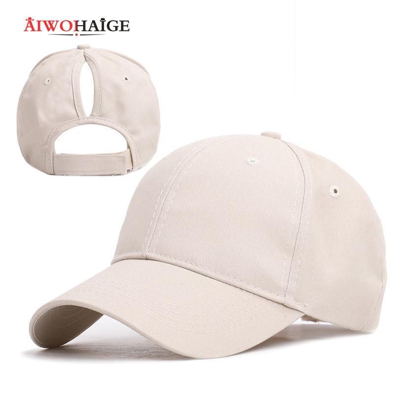 Messy Bun Cap Rodeo Cap 2020 New Ladies Solid Color Baseball Cap Women Casual Hat Adjustable Cotton Outdoor Sport Bone
