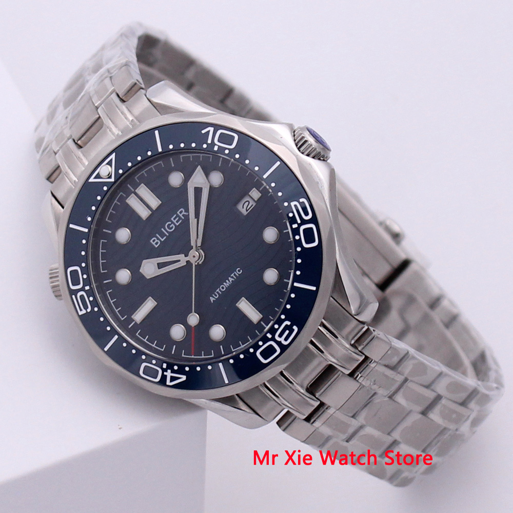 Bliger 41mm Men Watch Stainless Steel Strap Sapphire Crystal Luminous Waterproof Calendar Automatic Mechanical Male Wristwatch