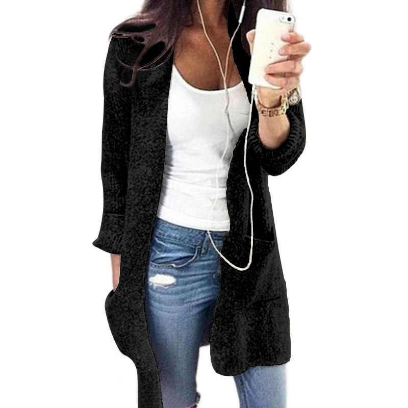 سترة حريمي كارديجان مقاس كبير 2019 طويل جديد بلون سادة رقبة بشكل v أوروبية للخريف والشتاء بكم طويل جيب Vestidos MMY76002