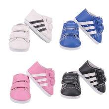 Sapatos de boneca quatro cores listrado casual tênis do plutônio caber 18 Polegada americano e 43 cm acessórios de boneca de bebê renascer, brinquedo das crianças