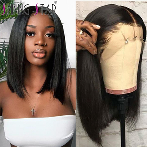 Lace Front Human Hair Bob Wigs Pre Plucked Natual 13*4 Lace Frontal Short Bob Wigs Peruvain 100 Remy Human Hair Wigs(China)