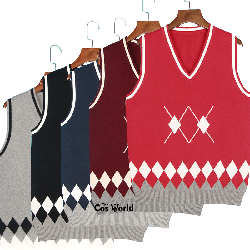 XS-XXXL Spring Autumn Sleeveless Argyle Knit Vests Pullovers V Neck Sweaters For JK School Uniform Student Clothes