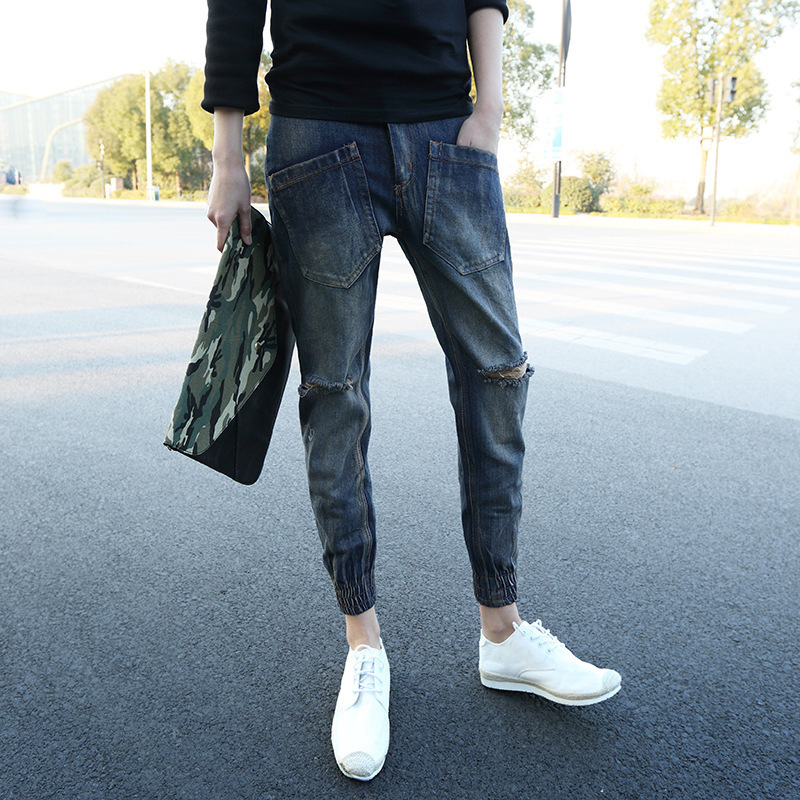 New Style Spring And Autumn Cool Men With Holes Denim (Ankle-length Pants) Slim Fit Beam Leg Closing Harem Pants Skinny Pants