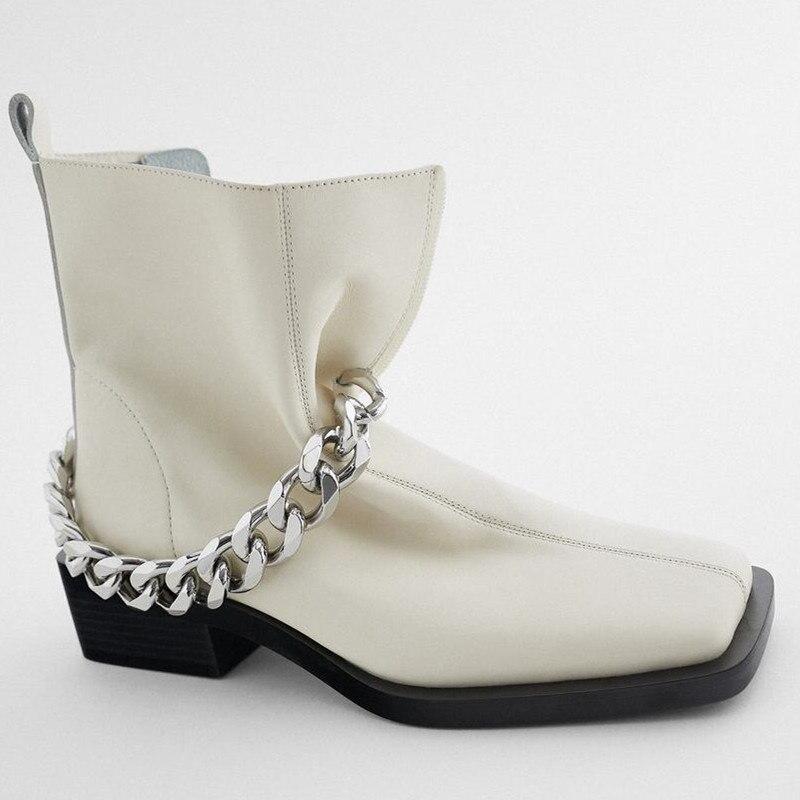 Katelvadi Челси Сапоги бежевые кожаные цепи модная повседневная