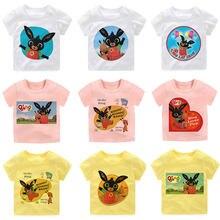 Camiseta infantil bing coelhos menino 2021 anime gráficos modo de aventura verão de manga curta três cores camisetas superiores para meninas