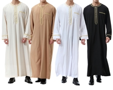 Muslim Clothes abaya Middle East Men's clothing Printed Zip Round Neck Robe jubba thobe Islamic Wear Male Long T shirt