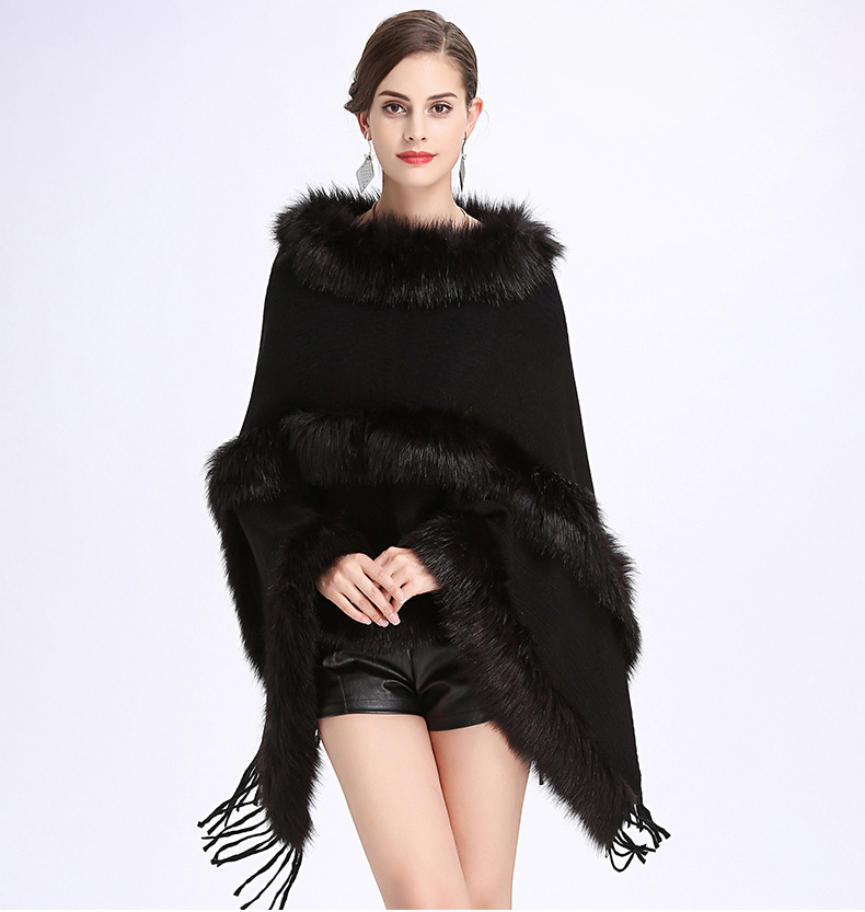 2018 Autumn Winter New Occident Fur Round Collar Cashmere Fox Fur Poncho Shawl Cape Women Tassels Pullover Cloak Coat Cloke