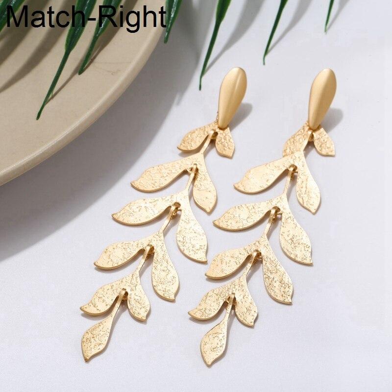 Женские длинные висячие серьги Match-Right, золотистые/Серебристые серьги в Корейском стиле, массивные висячие серьги с листьями, ювелирные изде...