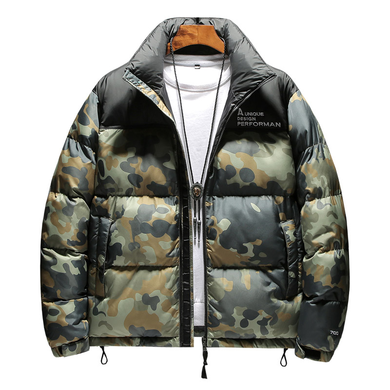 Brand Men's Winter New Down Jacket Casual Fashion Trend Wild Outwear Male Stand Collar Camouflage Coat Winter Jackets 2019