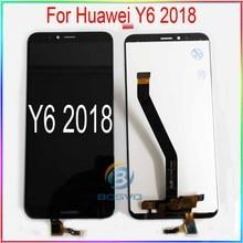 Tela lcd para huawei y6 2018, display de toque y6 prime 2018 atleta l11 l21 l22 lx1 lx3 l31 l42 peças de reposição para montagem