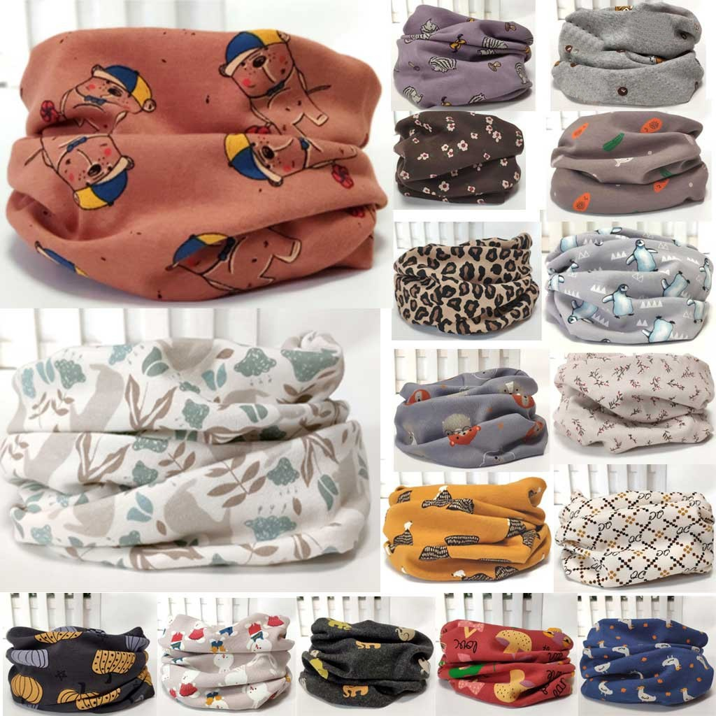 Thick Cotton Cartoon Baby Girl Neckerchief Scarves Winter Children Shawl Wrap Keep Warm Scarf O Ring Neck Scarves Neckcloth шарф