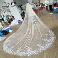 2019 Real Photos High Quality Blusher Lace Edge Cathedral Wedding Veil with Comb New Bridal Veil