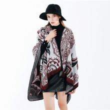 Celeb Women Autumn Winter Poncho Blanket Wrap Shawl Cape Warm Geometry Plus Size