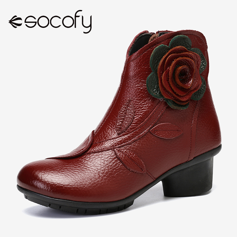 SOCOFY Handmade Boots Flower Solid Color Womens Low Heel Genuine Leather Soft Short Boots Women Shoes Botas Mujer 2020