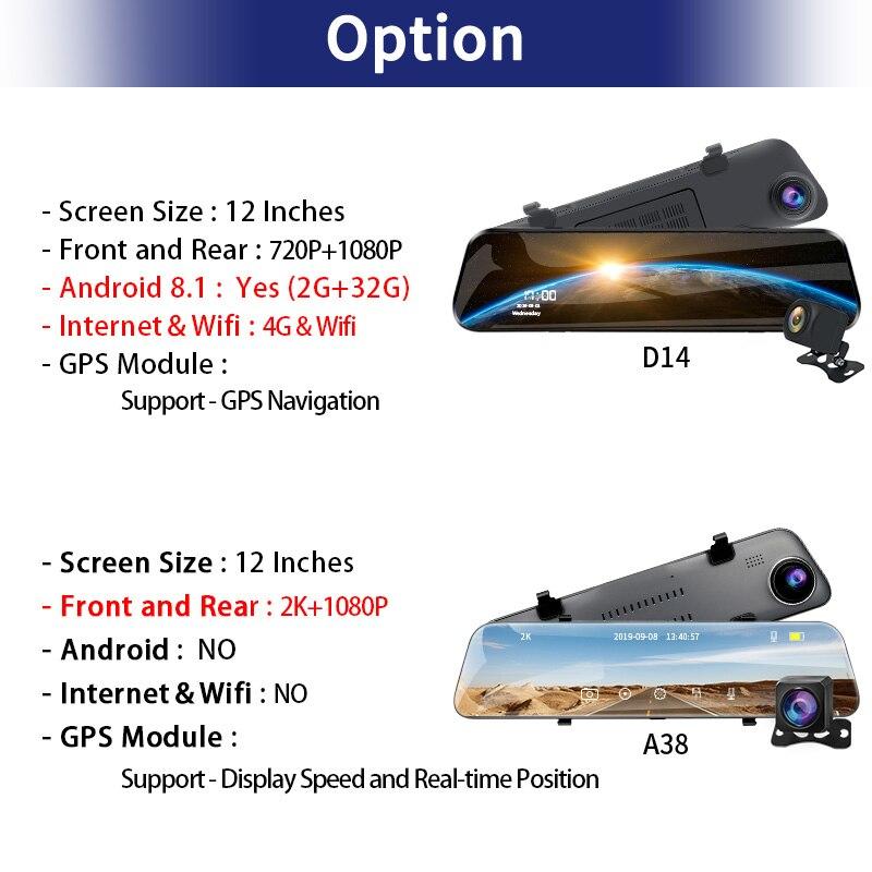 E-ACE Автомобильный видеорегистратор 12 дюймов потоковое зеркало заднего вида 4G Android gps навигация видеорегистратор FHD 1080P Авто регистратор виде...