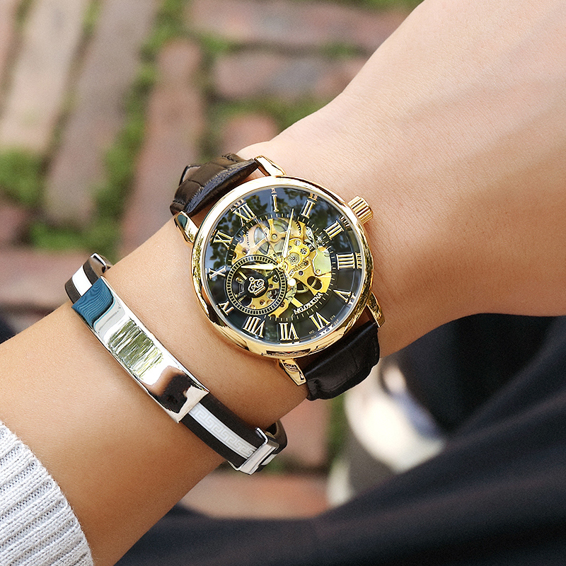 H91131a8309964b9cbad9d49dafeefd1ap Coupons Sale Men Watches Mechanical Hand Wind Luxury Top Brand ORKINA Skeleton Stainless Steel Bracelet Mesh Strap Men's Watches