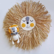 INS Nordic Hand woven Cartoon Lion Hanging Decorations Cotton Thread Weaving Animal Head Ornament Children room Wall Hanging