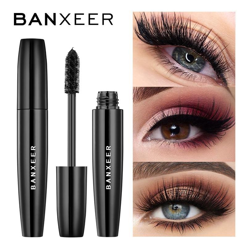 Mascara cils en Fiber de soie BANXEER 4D Mascara étanche Rimel 3d pour Extension de cils noir épais allongeant le maquillage des cils