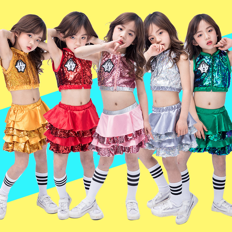 Hip Hop Dance Costumes Kids Sequined Sleeveless Top Skirts Stage Outfit Girls Cheerleading Child Street Dancing Clothes DNV10137