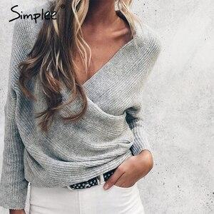 Image 2 - Simplee, suéter con cuello en V para mujer, Otoño Invierno, suéter de manga murciélago largo, tops, suéteres de moda, suéteres finos, Jersey 2018