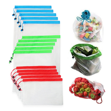 12ชิ้น/ล็อตReusableตาข่ายผลิตกระเป๋าล้างทำความสะอาดได้Eco Friendlyกระเป๋าสำหรับร้านขายของชำช้อปปิ้งเก็บผักผลไม้ของเล่นSundriesกระเป๋า