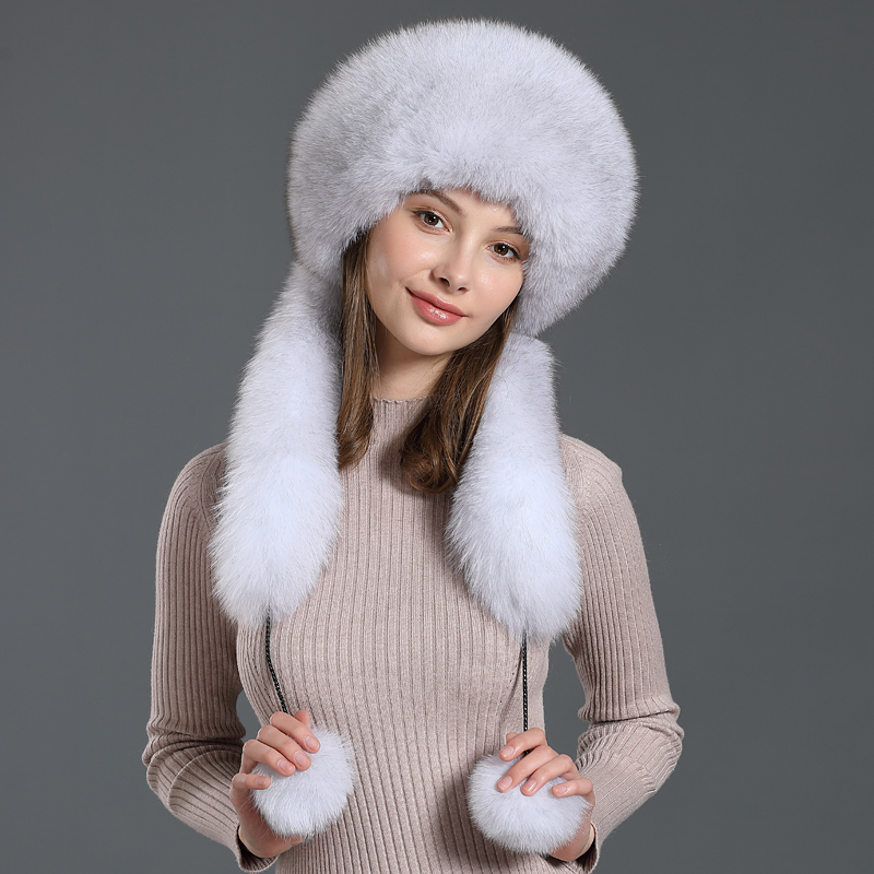 Thicken Fox Fur Bombers Hat With Rex Rabbit Fur Genuine Classic Women Natural Fur Hats Female Ear Hold Winter Beanies Lined