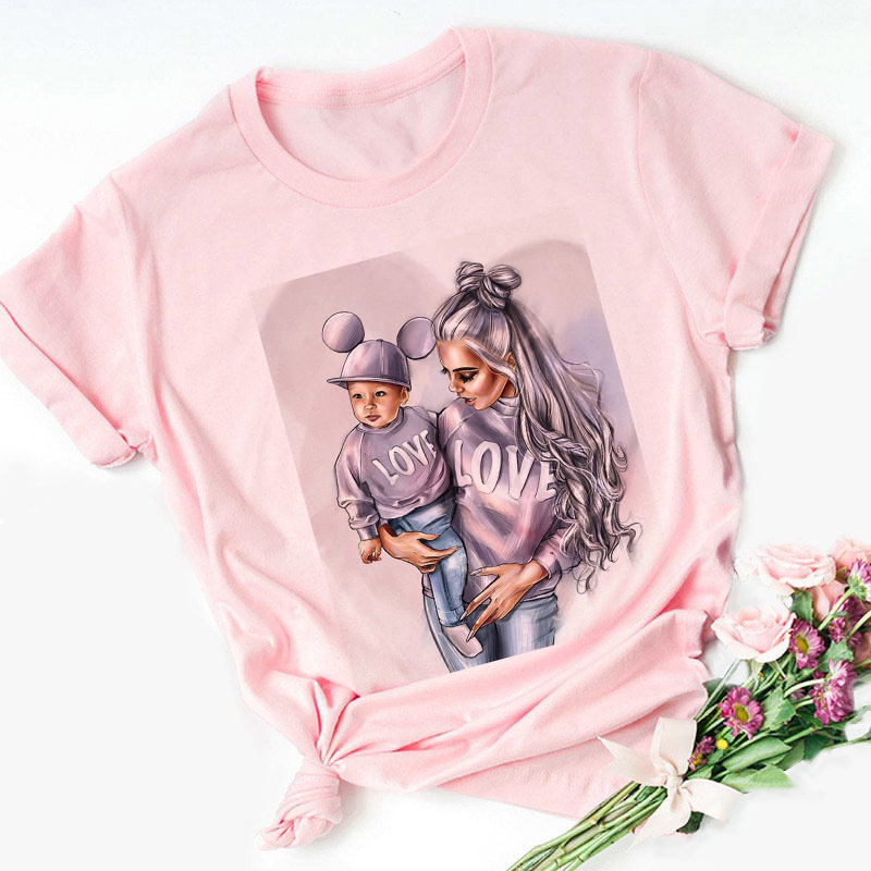 Super Mama T-shirts For Women Mother's Love Print Pink T-shirt Tees Shirt Femme Harajuku Vogue T Shirt Tops Streetwear Clothes