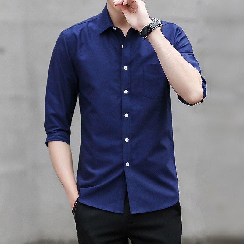 MRMT 2020 Brand Summer Men's Shirt Oxford Textile Seven-Sleeve Shirt For Male Slim Mid-Sleeve Top Shirt