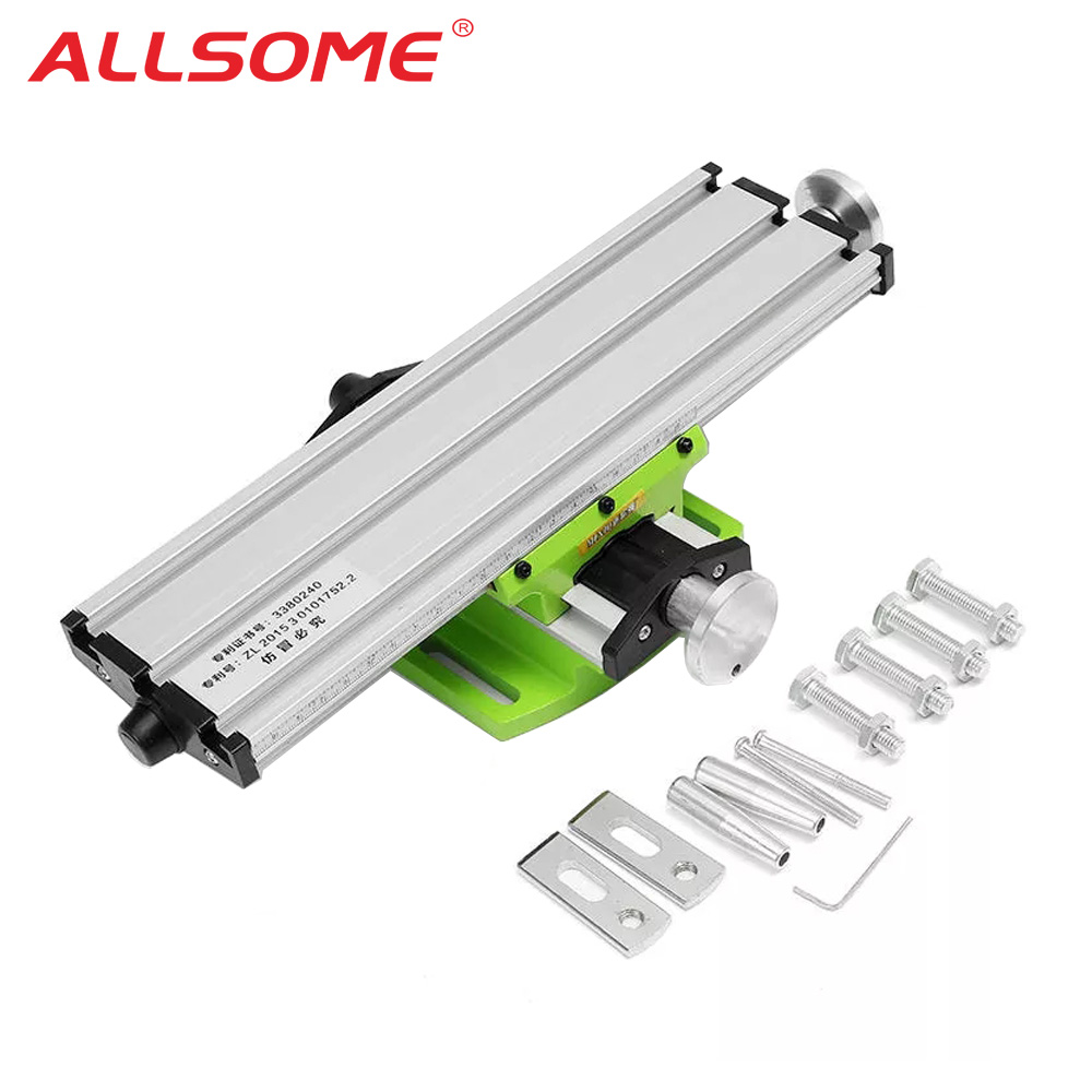 ALLSOME Mini Precision Milling Machine Worktable Multifunction Drill Vise Fixture Working Table Cross Slide Table