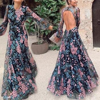 Σέξι φόρεμα zoctuo με μακρύ μανίκι στρογγυλή πλάτη bohemian dress