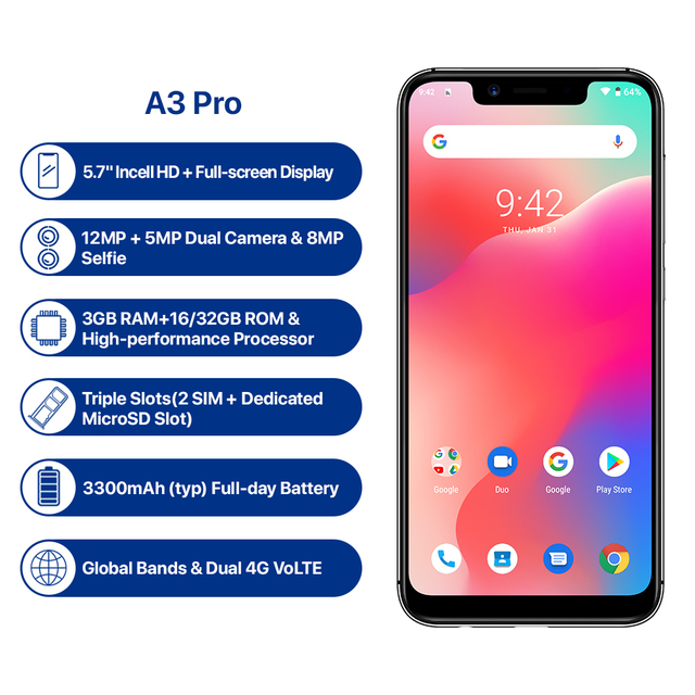 "Refurbished UMIDIGI A3 Pro Global Band Android 8.1 5.7""19:9 Full Screen Moblie Phone 3GB+16/32GB 12MP+5MP Face Unlock Smartphone 2"
