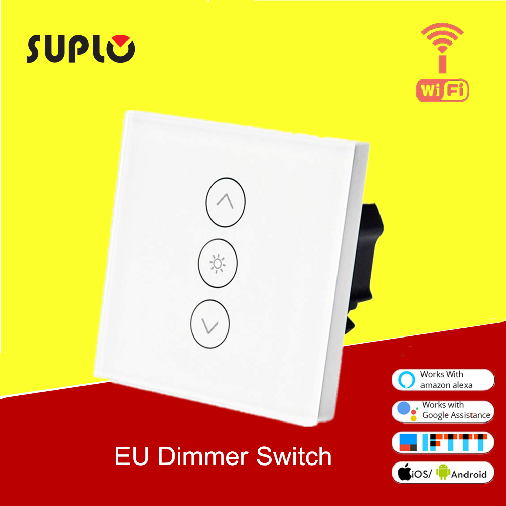 SUPLO Wifi Smart Wall Touch Light Dimmer Switch EU Standard APP Remote Control Works With Amazon Alexa And Google Home