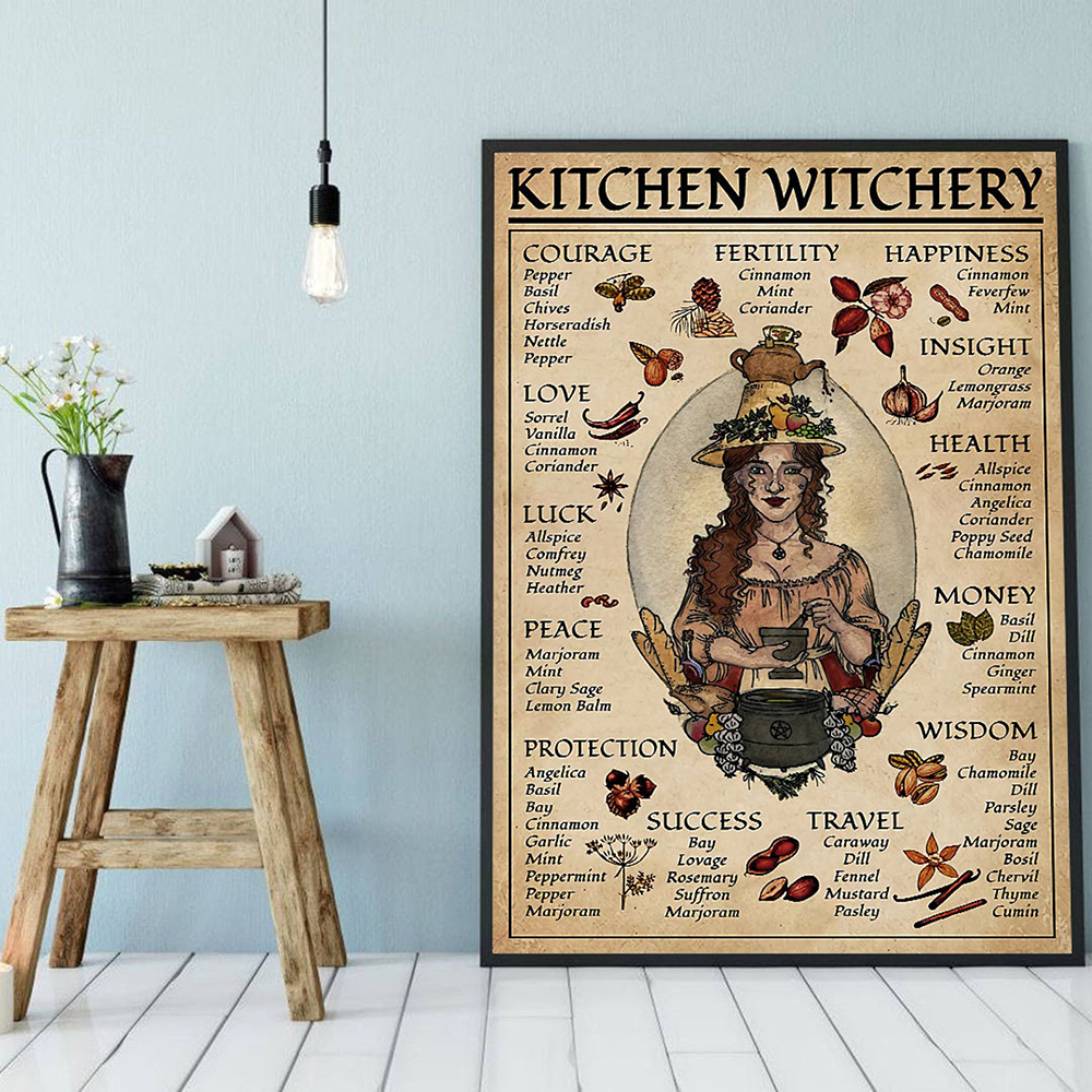 Kitchen Witchery Woman Posters and Prints Decoration Canvas Wall Pictures Witches Magic Knowledge Art Painting Gifts Home Decor