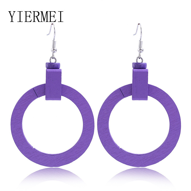 Purple mosaic wooden earrings geometric round square double earrings purple round acrylic long earrings female charm
