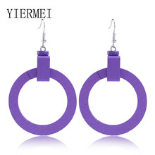Purple mosaic wooden earrings geometric round square double purple acrylic long female charm